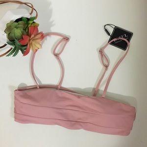 NWT Zaful dusty rose pink bandeau swim top
